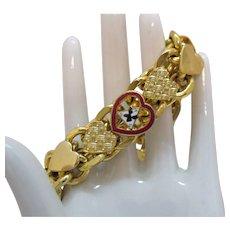Rare Woman of the Moose Faith Hope Charity Chunky Vintage Heart Bracelet