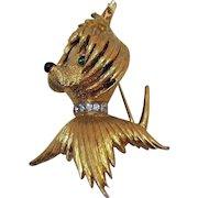 Rare Signed Jomaz Vintage Figural Maltese Puppy Dog Rhinestone Brooch