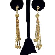 Vintage Golden Filigree Beaded Chain Dangle Pierced Earrings 3 Inches Long