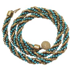 Signed Avon Vintage Heavy 1972 Golden Rope Twist Faux Turquoise Wrapped Necklace