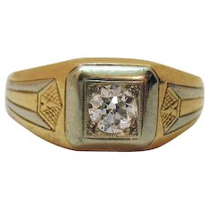 Art Deco Round Brilliant Cut Diamond Vintage 14K Gold Gentleman's Ring Appraisal Available
