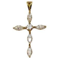 Stunning Vintage 10K Gold Marquise Cubic Zirconia Religious Cross Pendant