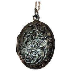Rare Antique Signed JMF Co Sterling Silver Repousse Locket Pendant Necklace Original Box