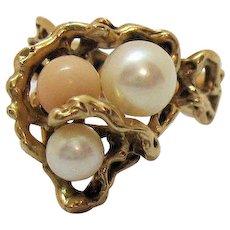 Rare Signed Sulton Company of Honolulu Vintage 14K Gold Ring Akoya Salt Water Pearl Angel Skin Coral