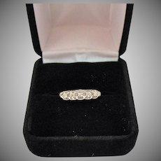Vintage 14K White Gold Five Diamond Ring Signed KB Adjustable Hinged Band