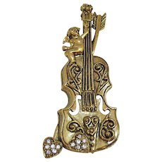 Awesome Vintage Figural Cello Instrument Brooch Cherub Heart Pave Rhinestones
