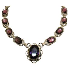 One Week ONLY Magnificent Art Deco Sterling Silver Amethyst Repousse Vintage Choker Necklace