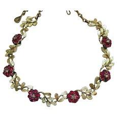 Signed Coro Vintage Lavender Hot Sapphire Pink Rhinestone Golden Flower Necklace