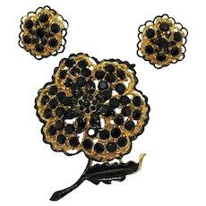 Unusual Vintage Black Rhinestone Enameled Floral Brooch Clip Earrings Set