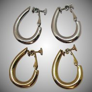 Signed Napier Vintage Silver Gold Colored Hoop Lever Clip Earrings 2 Pairs 1965