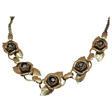 Early Unsigned Coro Vintage Cabbage Rose Rhinestone Golden Necklace Book Piece