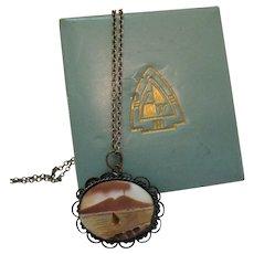 Italian Pompei Mount Vesuvius Seascape Landscape Scene Carved Shell Cameo Vintage Necklace Original Box