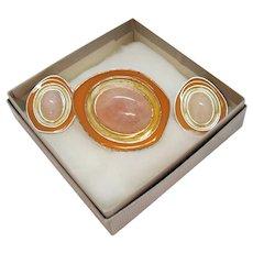 BOOK Rare Signed Celia Sebiri for Avon Genuine Pink Quarts Enameled Convertible Brooch Pierced Earrings Set Original Box