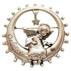Unusual Signed Danecraft Vintage Angel Setting in Moon Star Charm Rhinestone Signed Believe Brooch