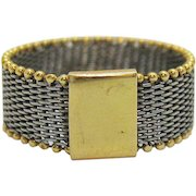 Vintage 18 KT Gold Milor Italy Two Tone Gold Micro Beaded Flexible Mesh Band Ring