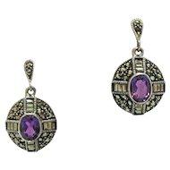 50% OFF Gorgeous Vintage Sterling Silver 925 Genuine Amethyst Marcasite Pierced Earrings Beautiful!