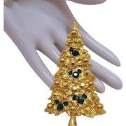 Rare Signed Disney Vintage Gold Nugget Rhinestone Christmas Tree Brooch