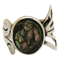 Artist Signed Taxco Mexico 925 ACR Abalone Modern Abstract Ring Sterling Silver Eagle Mark 2