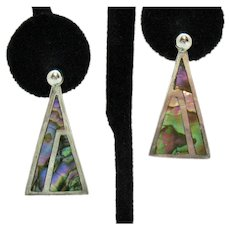 Signed Taxco Mexico GCA 925 Eagle Mark 1 Vintage Abalone Inlay Pierced Earrings Removable Jackets