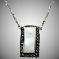 Stunning Vintage Sterling Silver 925A Italy Marcasite Mother of Pearl Pendant Necklace