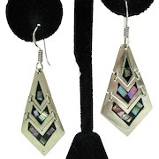 Stunning Vintage Abalone Inlay Signed Mexico Sterling Silver Pierced Earrings