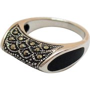 Unique Sterling Silver 925 Marcasite Onyx Inlay Vintage Ring