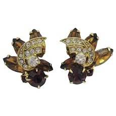 Signed Weiss Gorgeous Cognac Three Tiered Vintage Rhinestone Clip Earrings