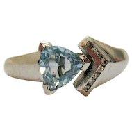 Signed Karis Sky Blue Topaz Trillion Cut 1.65 Carats Simulated Diamond Ring Platinum over Brass