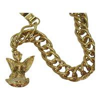 Signed General Inc Heavy Golden Charm Bracelet Angel Birthday Charm July FREE SHIPPING