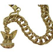 Signed General Inc Heavy Golden Charm Bracelet Angel Birthday Charm November or July