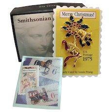 Signed Smithsonian Institution Postal Stamp Vintage 1996 Christmas Angel Bell Pin Charm Brooch by Avon Original Packaging Unworn