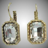 Large Vintage Emerald Cut Rhinestone Foil Backed Lever Clip Pierced Earrings