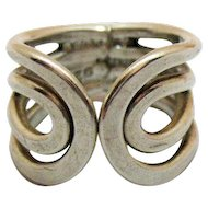 Unusual Vintage Sterling Silver 925 Open Swirl Wide Band Ring Size 4