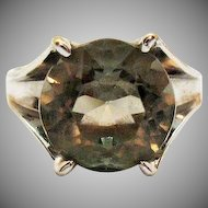 Signed Utica 14K White Gold Electroplated Vintage Blush Green/Grey 4 Carat Stone Ring