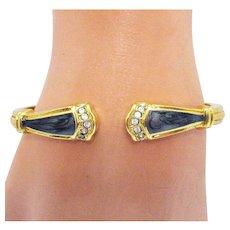 Book Signed KJL Kenneth Jay Lane 1988 Duchess of Windsor Collection for Avon Panther Bracelet Vintage Enameled Cuff