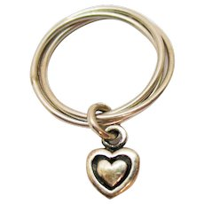 Unique Signed 925 NW Thailand Intertwined Sterling Heart Charm Vintage Ring Size 8