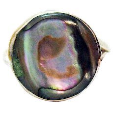 Unique Vintage Sterling Silver Signed Mexico Peacock Abalone Inlay Ring