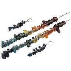 Wonderful Vintage Gemstone Nugget Necklace Pierced Earrings Set 61.4 Grams