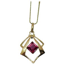 50% OFF Vintage Signed Synthetic Ruby Emerald Cut 10K Gold Pendant with 14K Gold Chain