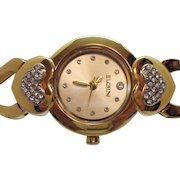 Signed Elgin Vintage Heart Pava CZ Golden Woman's Wrist Watch Unworn