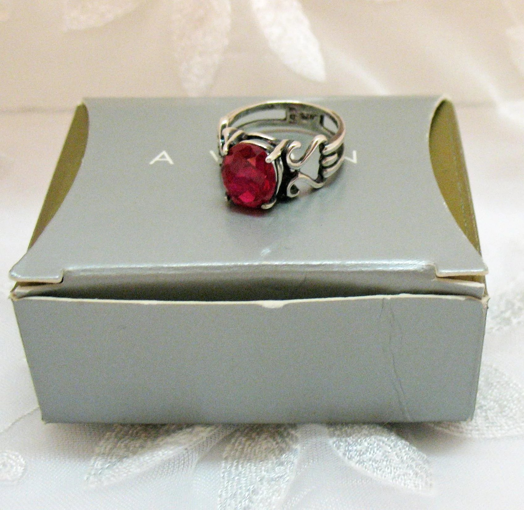 Vintage Signed Avon Sterling Silver 925 Synthetic Ruby