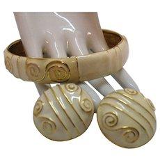 50% OFF Bold Vintage Enameled Golden Large Bangle Bracelet Pierced Earrings Set