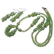 Gorgeous Vintage Peridot Green Glass Beaded Necklace Pierced Earrings Set Unworn