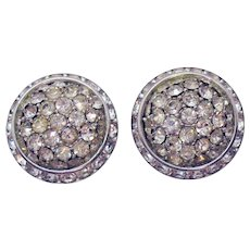 Signed Coro Early Vintage Large Button Style Rhinestone Clip Earrings
