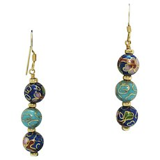 Gorgeous Vintage 10K Gold Cloisonné Dangle Pierced Earrings