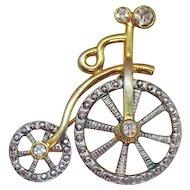 50% OFF Darling Vintage Mechanical Figural Victorian Style Rhinestone High Wheel Bicycle Brooch