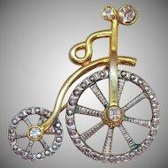Darling Vintage Mechanical Figural Victorian Style Rhinestone High Wheel Bicycle Brooch