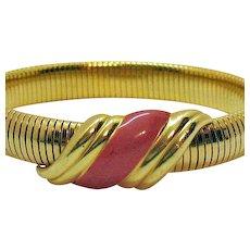 50% OFF Signed Monet Vintage Mesh Stretch Bangle Bracelet Coral Enameling Unworn