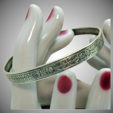 Signed Coro Sterling Silver Vintage Micro Etched Bangle Bracelet