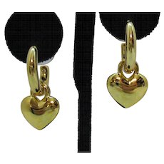 Signed Monet Vintage Pierced Earrings Hoop Dangle Puff Hearts